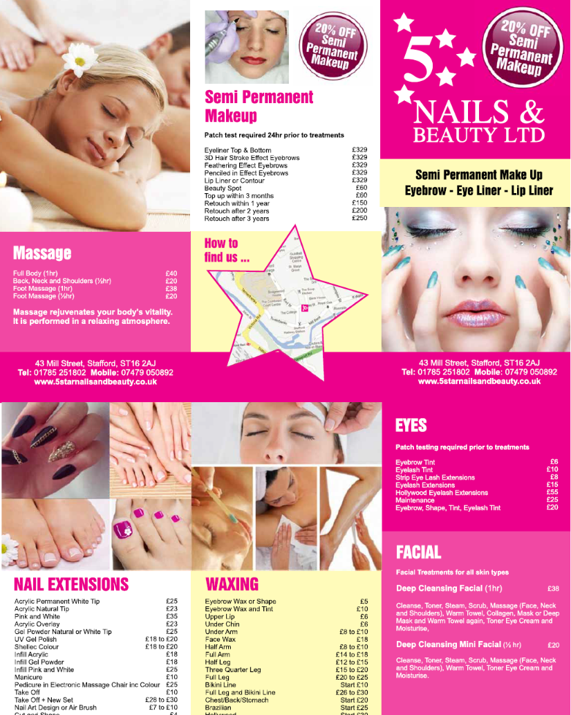 Price Listnailsbeauty5 Star Nails And Beautystafford